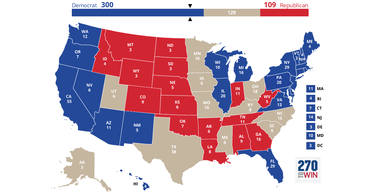 Electoral Map Forecast Who Will WinClinton Or Trump ABC News - Us electoral map interactive