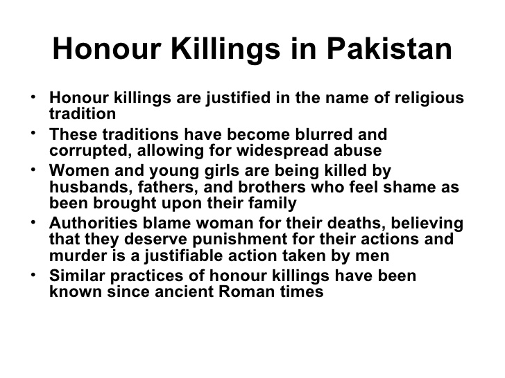short essay on honor killing What reasons and justifications are given for honour killings my tribe, has lost honor, or status honor killing.